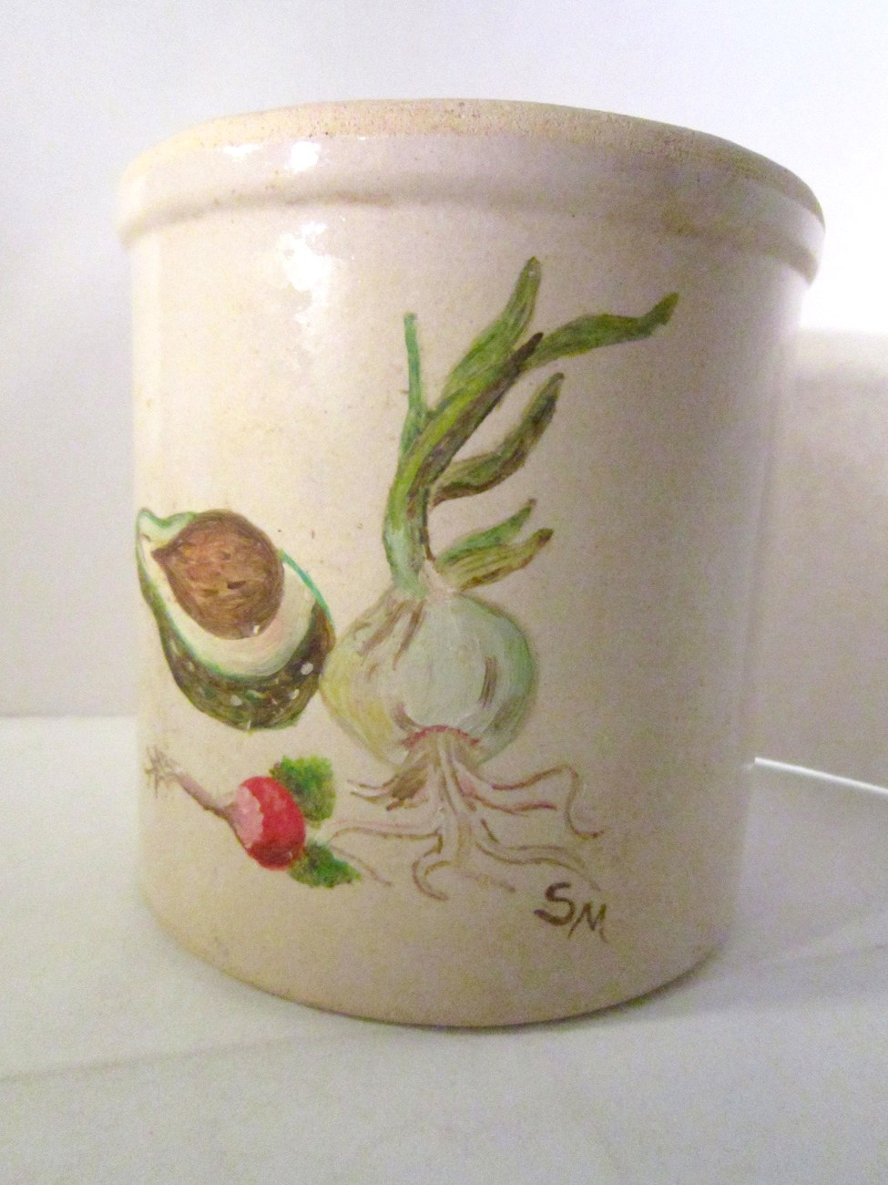 Primary image for Old Beige Stoneware Country Kitchen Crock 6 inches Tall, Veggie decor