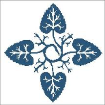 Floral Ornamental 054 Blue Leaves cross stitch chart Pinoy Stitch - $9.90