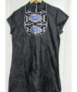 AARONG-WOMEN-039-S-DRESS-BLACK-XL-100-SILK-SHORT-SLEEVE-HAND-EMBRO... - $139.90