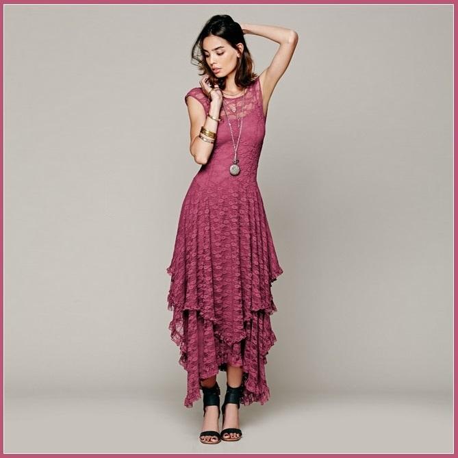 6f627f3436a Bohemian Sleeveless Tiered Sheer Layered Lace Asymmetrical Hem Evening Dress