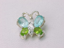 BUTTERFLY PENDANT with Peridot, Blue Topaz and CZs in STERLING Silver - $48.00