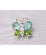 BUTTERFLY PENDANT with Peridot, Blue Topaz and CZs in STERLING Silver - £37.04 GBP
