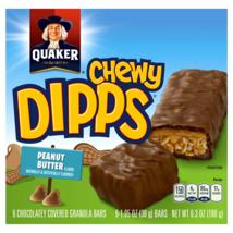 Quaker Chewy Dipps Granola Bars, Peanut Butter, 6 Count, 1.05 oz Each. - $8.23