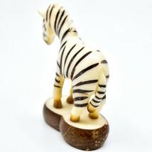 Hand Carved Tagua Nut Carving Zebra Figurine Made in Ecuador image 2