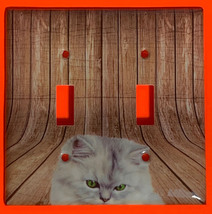 Pretty white cat wood Light Switch Outlet + more wall Cover Plate Home Decor image 2