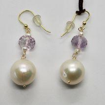 Boucles D'Oreilles en or Jaune 18K 750 Perles Eau Douce et Améthyste Rose Italy image 5