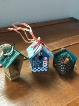 Estate Lot of 3 Resin with Metal Roof & Painted Wood Mini Bird House Chr... - $13.09