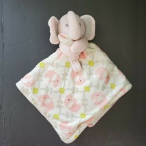 Blankets & Beyond Pink Elephant Green White Baby Security Blanket 15x15 - $19.29