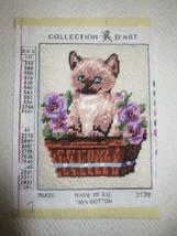 """Cute KITTEN CAT IN BASKET OF FLOWERS Needlepoint  - Design 5 1/4"""" x 7"""" +... - £5.66 GBP"""