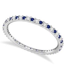 0.25 Ct Round Real Diamond & VVS1 Sapphire 14K Gold Eternity Wedding Ban... - €186,53 EUR
