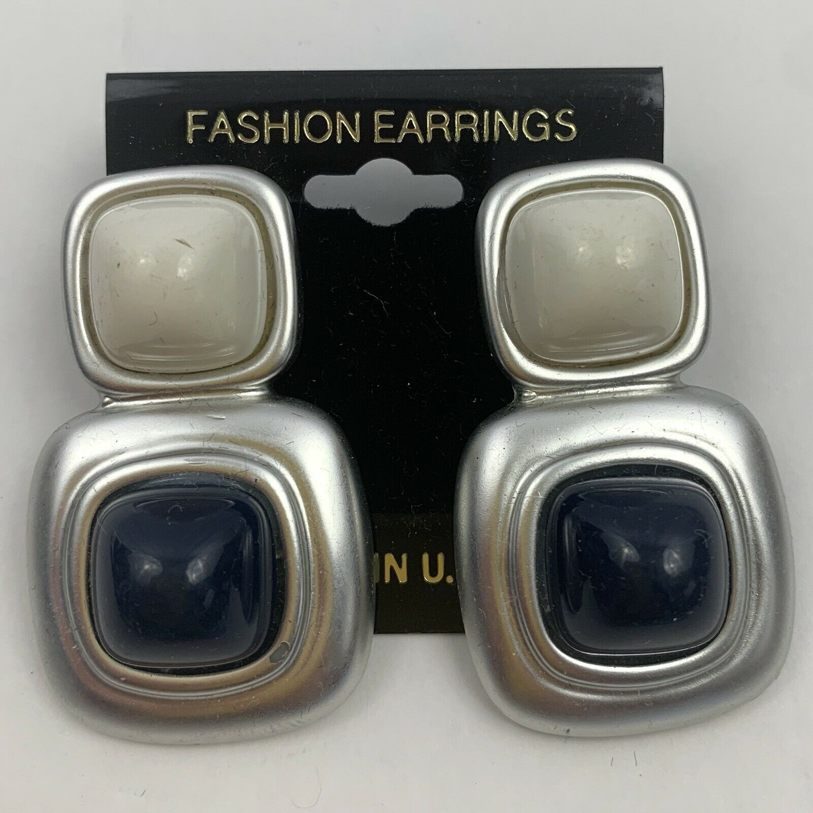 Primary image for Vintage Chunky Mod Plastic Dangle Earrings NOS Silver Tone White Blue Cabochon