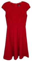 Tommy Hilfiger Women's Cap Sleeve Textured Fit and Flare Dress Red TD6N1W6B - $57.28