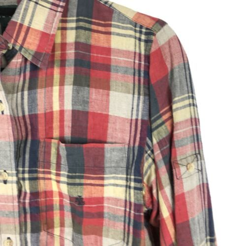 Lauren Ralph Lauren Womens Sz S Plaid Button Front Shirt 100% Linen Tab Sleeve