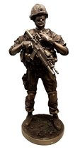 "Ebros Modern Infantry Soldier Statue 13"" Tall Rifleman Reporting Detail to Headq - $69.99"