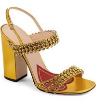 $1250 NIB Gucci Bertie Crystal Gold Sandals Pumps Shoes Heels 37. 5 549613 - $494.01