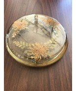 Retro Vintage Acrylic Lucite Three Flowers With Fronds Trivet - $18.75