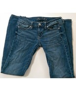 American Eagle Women's Jeans Skinny Stretch Size 4 Regular Distressed Me... - $20.49