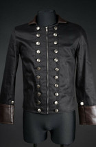 Men's Black Brown Vegan Leather Military Jacket Zip Front Steampunk Goth... - $71.53