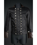 Men's Black Brown Vegan Leather Military Jacket Zip Front Steampunk Goth... - $75.32