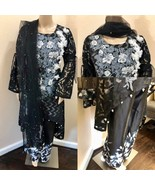 Pakistani Black & Gray Silk & Net Low High Style Suit, with Thread Embro... - $85.00
