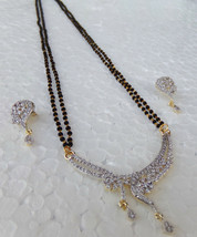Ethnic Indian Black Beads Chain Mangalsutra Bridal Necklace Earrings Jew... - $9.49