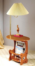 """Magazine accent table in warm oak finish with brass arm lamp combination 52""""H - $83.93"""