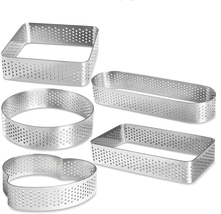 Stainless Steel Tart Ring Heat-Resistant Perforated Cake Mousse Ring Mou... - $20.78