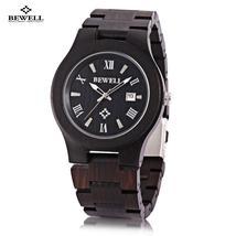 Bewell ZS - W127A Men Quartz Watch Wooden Case Date Luminous Display Jap... - $36.57
