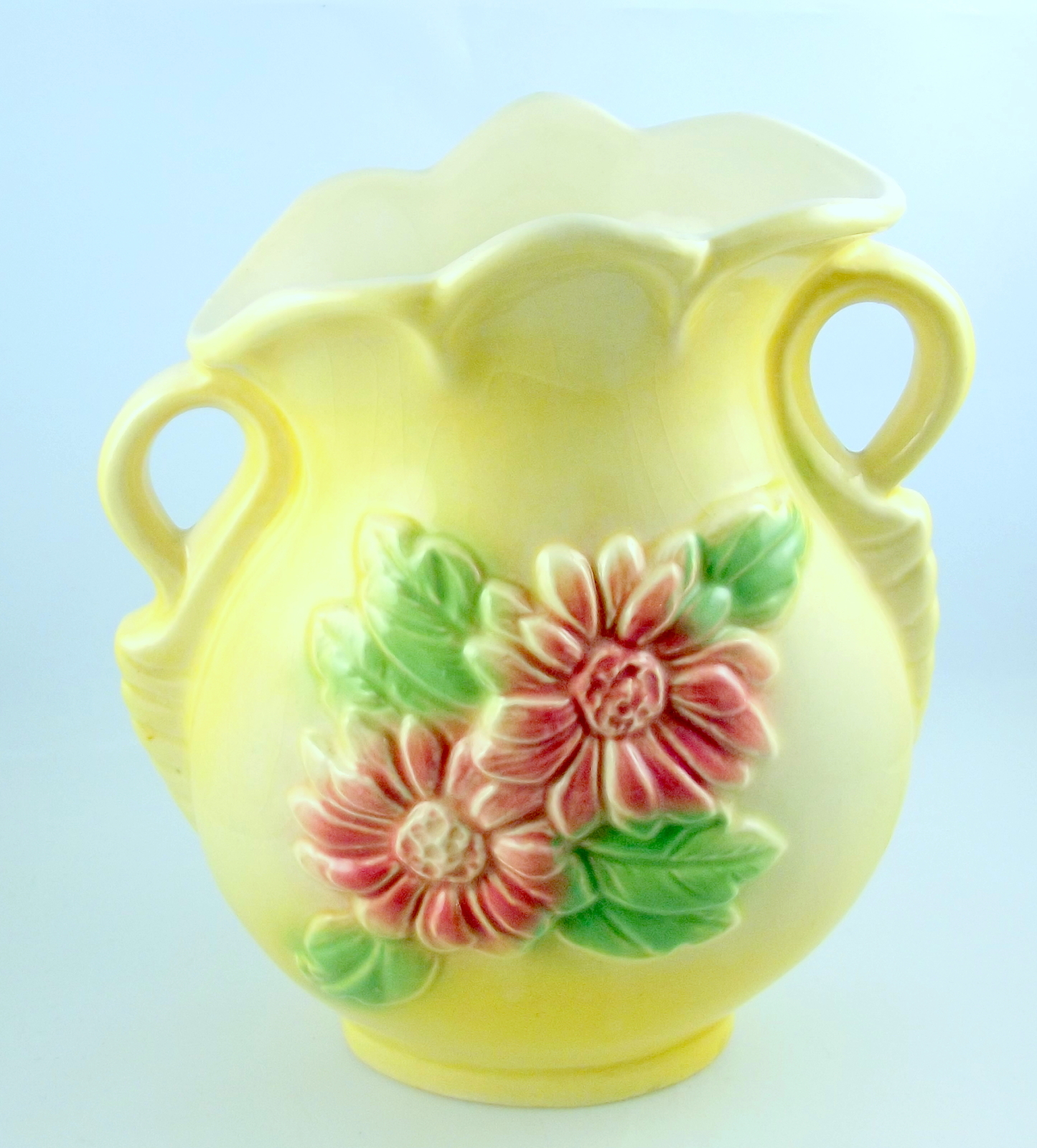 Hull pottery sunglow yellow handled vase pink flowers 3