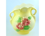 Hull pottery sunglow yellow handled vase pink flowers 3 thumb155 crop