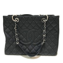 AUTHENTIC CHANEL CC Mark Matelasse Tote Bag Black/SilverHW Caviar Leathe... - $4,733.42 CAD