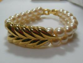 Vintage Signed Richelieu Double Strand Pearl Leaf Bracelet - $24.26