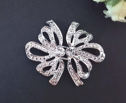 1 Pr Clear White Rhinestone Clasp Buckle Closure Button Hook BC8 - $6.99