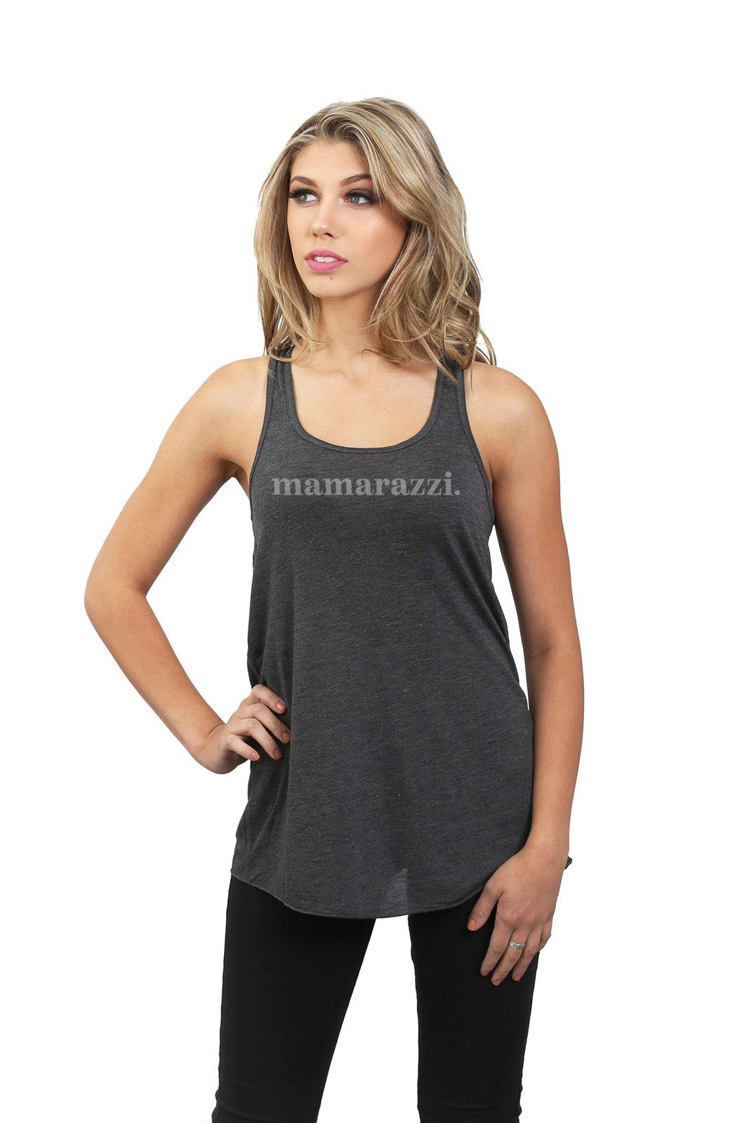 Thread Tank MamaRazzi Women's Sleeveless Flowy Racerback Tank Top Charcoal Grey