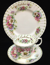 Birthday Month October Cup Saucer & Plate Royal Albert Bone China Porcelain 3 Pc - $39.59
