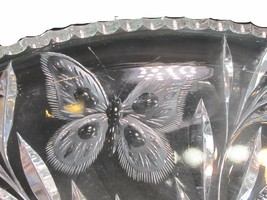 ABP cut glass dish butterfly and Thistle ANTIQUE - $107.18