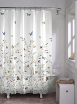 PEVA Shower Curtain Butterfly Vinyl Floral Garden Bathroom Accessories Gifts - $36.62