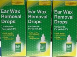 3 PK EARWAX REMOVER DROPS CARBAMIDE PEROXIDE 6.5% EAR CLEANSE Ear wax RE... - $9.85