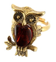 VINTAGE AMBER GLASS 1960'S OWL BIRD RING GOLD TONE ADJUSTABLE  5.25+ DAR... - $48.59