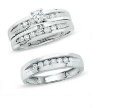 Diamond Wedding 925 Sterling Solid Silver 14k White Gold Finish Trio Ring Set - $148.99