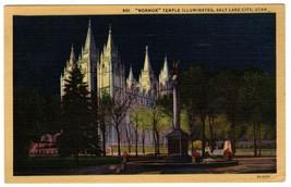 Linen Postcard Mormon Temple Illuminated Salt Lake City UTAH Curt Teich 3A-H201 - $10.86