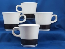 Noritake Midsummer Coffee Mugs Set of 4 Black and White 8 oz Cups Craftone 8762 - $23.47