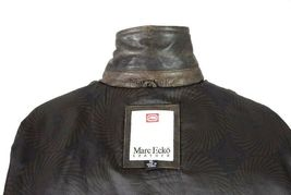 Marc Ecko Leather & Wool Heavy Bomber Jacket Brown Varsity Style Button Mens XL image 9