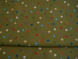 fabric cotton Jungle babies sage green multicolor dots Patty Reed design 2 yard - $12.60
