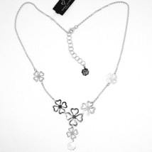 SILVER 925 NECKLACE,FOUR-LEAF CLOVER GOOD LUCK CHARM,BY MARY JANE IELPO, image 2