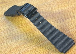 Buler 20mm Diver Strap Swiss Black Rubber 1970s New Old Vintage Watch Ba... - $26.60