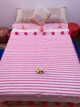 Creamy & Pinky Amazing Moroccan Hand-Loomed Pompom BLANKET, 100% natural organic - $79.00