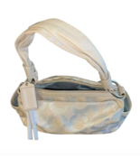 COACH Shoulder Zip Bag Purse Silver/ Beige Handbag Medium Logo C - $56.99