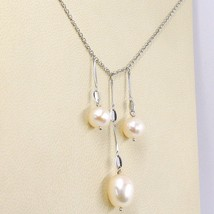 NECKLACE WHITE GOLD 18K, 3 HANGING, PEARLS FISHING, ROUND AND OVALS, CHAIN ROLO' image 2