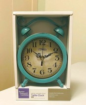 "Metal Vintage-Style Table Clock Teal 6 IN x 1-3/4"" x 8.25 IN Quartz Glas... - $21.76"